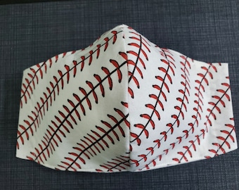 BASEBALL LOVERS - Baseball Stitching - 100% Cotton Double Layer Face Mask with Soft Adjustable Ear Loops and Nose Wire - Add your number