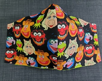 Meet The Muppets - 100% Cotton Double Layer Face Mask with Soft Adjustable Ear Loops and Nose Wire