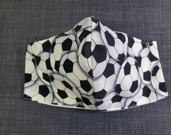 SOCCER LOVERS - 100% Cotton Double Layer Face Mask with Soft Adjustable Ear Loops and Nose Wire - Add number