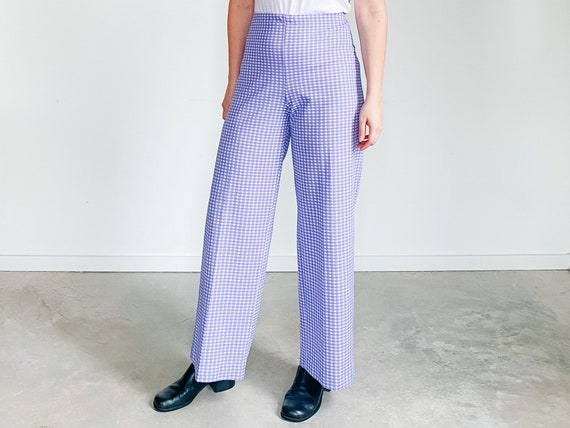 Vintage Gingham Pants ˆ Purple Checkered Pants – … - image 1
