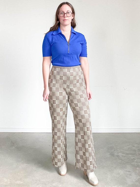 Vintage Gingham Pants – Tan and Brown Checkered Pa