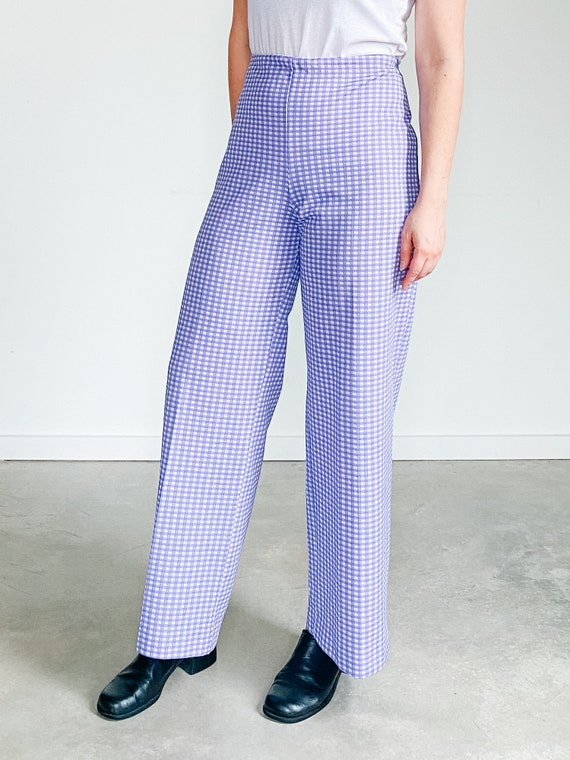 Vintage Gingham Pants ˆ Purple Checkered Pants – … - image 9