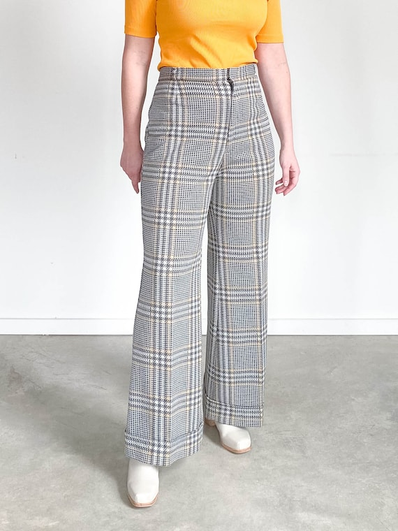 Vintage Plaid Pants – 70s 80s Knit Trousers – M L