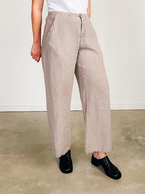 Vintage Linen Pants - Wideleg Trousers - Flax Line