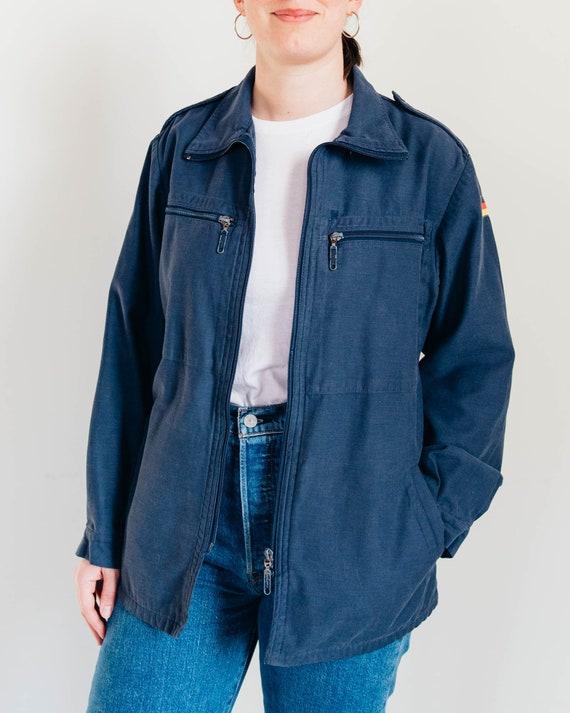 80s German Military Jacket - Vintage Blue Cotton F