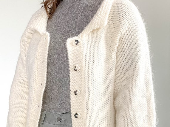 Vintage Knit Cardigan – Hand Knit Sweater – Cream