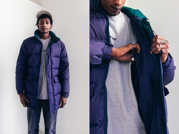 80s Puffer Coat - Unisex Purple Down Coat - Winter
