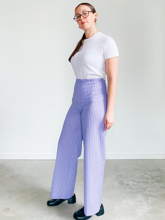 Vintage Gingham Pants ˆ Purple Checkered Pants – … - image 6