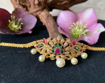 Kundan Baajubandh indian wedding wear 1 pc Stunning Royal Green Kundan Bajuband Kundan armlet vanki bajubandh,indian bridal jewelry