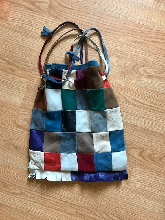 70s patchwork suede and leather boho hippie purse