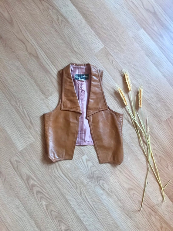 70s caramel leather fitted vest small