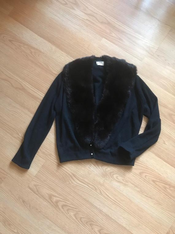 1950s fur trimmed pin up cardigan Medium Large