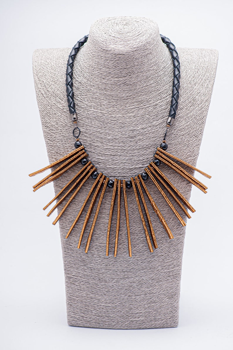 Statement Necklace Leather Leaf Necklace Chunky Long Necklace Natural Leather Tassel Long Tassel Necklace Boho Necklace Tassel Jewelry