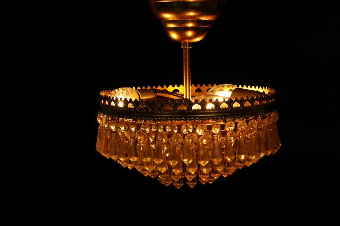 Mid century CHANDELIER SCANDINAVIAN Brass And Crystal Glass  Pendant Art Deco Vintage 40s 50s 60s Lightning mcm - Eclairage