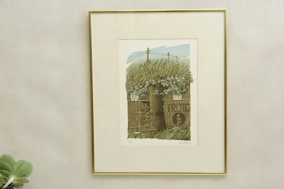 Vintage  LITHOGRAPHY 36X26  60s 70s 80s Graphic Print Art Mid Century Handmade Wall Decor Hanging Signed Numbered McM