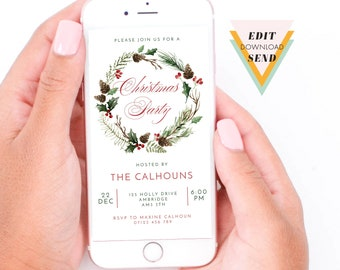Christmas Party Watercolour Wreath Invitation, Holiday Party Invite, Editable, Electronic, Smart Phone, Email, Invitation