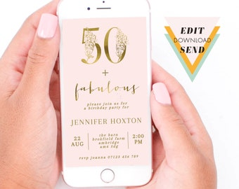 50 and Fabulous, Gold and Blush, Floral Numbers, Adult Milestone Party Invitation, Editable, Electronic, Smart Phone, Email, Invitation