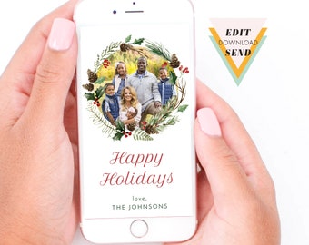 Electronic Holiday Photo Card, Christmas Watercolour Wreath , Christmas Photo Card, Editable, Electronic, Smart Phone, Email