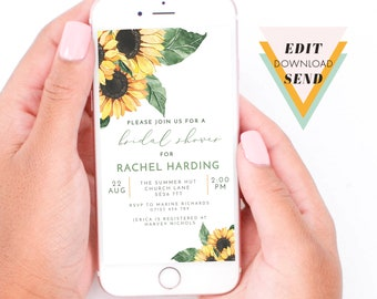Bridal Shower Smart Phone, WhatsApp Text Message, Email, Digital Invitation - Watercolour Sunflowers and Leaves - Corjl