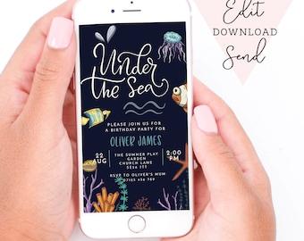 Under the Sea Kids Birthday Party Sea Life  Editable Electronic Smart Phone/Email Whatsapp Invitation| fish, starfish, jellyfish, pool party