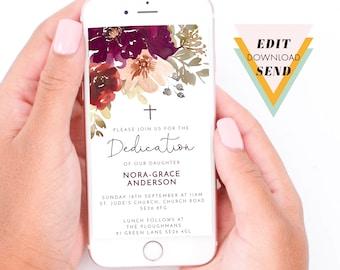 Fall Burgundy Flowers Baby Dedication, Baptism, Christening Editable Electronic Smart Phone, Email Invitation