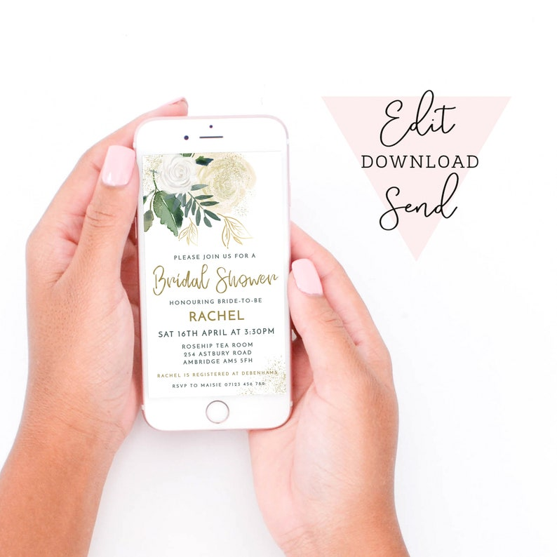 Glitter Roses Bridal Shower Sage Green /& Ivory Editable Electronic Smart Phone Invitation