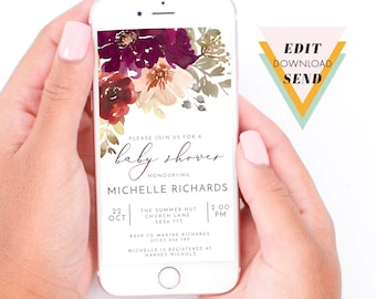 Fall Burgundy and Peach Flowers Baby Shower Electronic, Smart Phone, Whatsapp Text Message, Email, digital Invitation