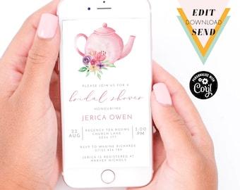 Pink Bridal Shower Tea Party Smart Phone, WhatsApp Text Message, Email, Digital Invitation - Corjl