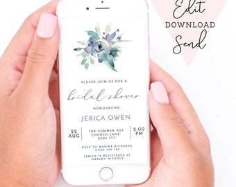 Purple & Teal Watercolour Floral Bridal Shower Editable Electronic Smart Phone Invitation