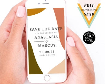 Modern Abstract Electronic Wedding Save the Date - Editable Invitation, Digital Engagement Announcement, Corjl