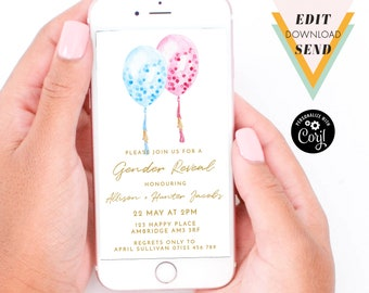 Pink and Blue Balloons Gender Reveal Editable Electronic Email Invitation