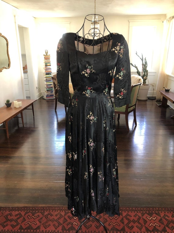 Vintage Asian Silk Maxi Dress
