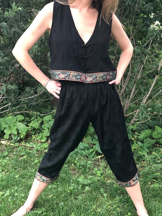 Vintage Silk Set Crop Top and Capri Pants