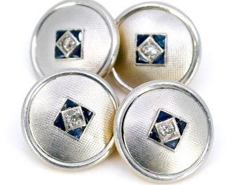 Diamond, Sapphire, 18ct Cufflinks 9850-2207