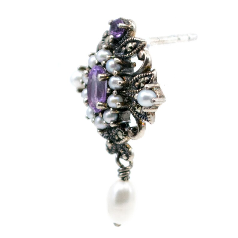 Pearl Silver Earrings 0723BS Pyrite Amethyst Marcasite
