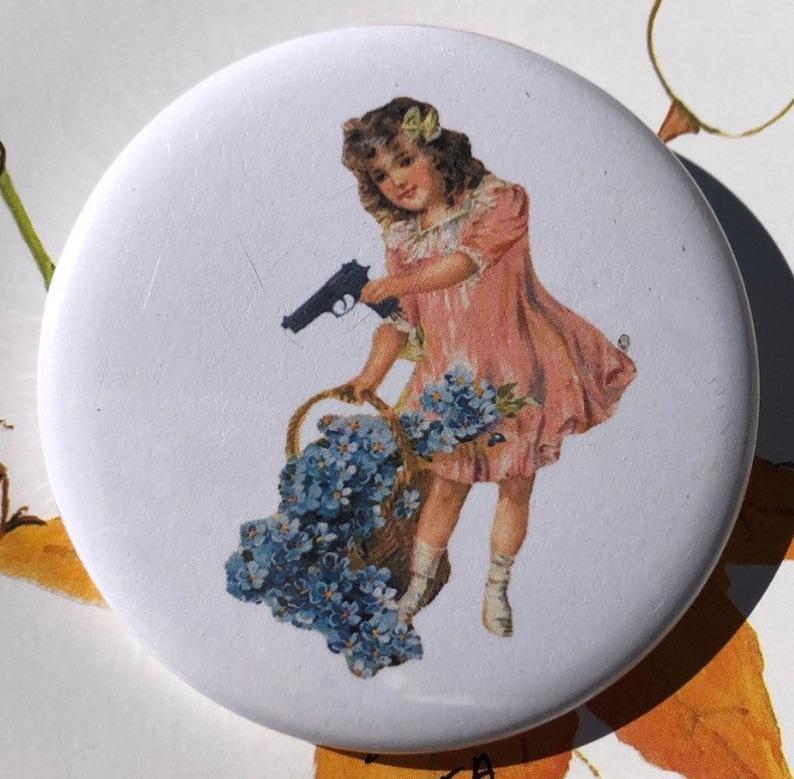 Girl with Gun 1.25\u201d Pinback Button