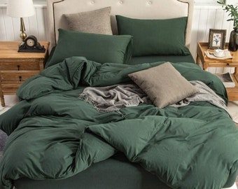 UO Bedding Washed Cotton Luxury Green Boho Duvet Cover Twin/full/Queen/King Blanket Comforter Cover