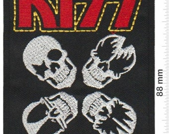 IRON ON or SEW ON PATCH  1766 KISS RED BLACK LOGO