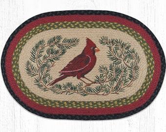 Cardinal Doormat | Handwoven Rug | Handpainted Rug | Front Porch Rug | Front Door Rug | Christmas | Holiday Rug | Outdoor / Indoor Rug / Mat