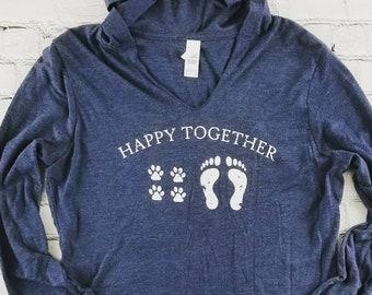 Happy Together Lightweight Hoodie | Dog Mom Shirt | Dog Shirt | Cute Hoodie | Beach Shirt | Love Dogs | Navy Hoodie | Long Sleeve | Gift