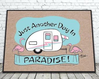 Welcome to Paradise Camper Doormat, Airstream Doormat, RV Doormat, Trailer Doormat, Flamingo Doormat/Rug, Outdoor Mat, Durable Doormat