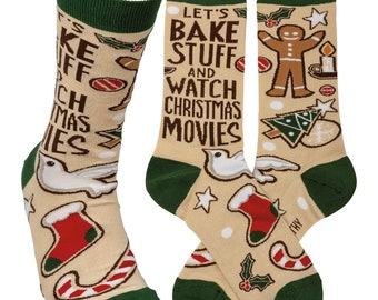 Let's Bake and Watch Movies Socks | Christmas Socks | Holiday Socks | Baking Socks | Soft, Casual Socks | Fun Work Socks | Fall Socks |Gift