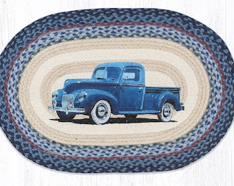 Hand Woven Blue Pickup Jute Rug | Hand Painted Kitchen Rug | Man Cave | Farmhouse Rug | Porch Rug | Frontdoor Rug | Barn Rug | Gift