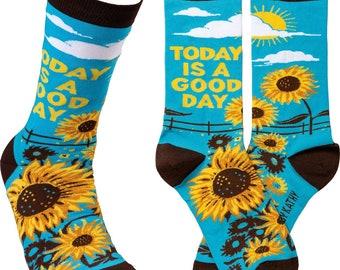 Today is a Good Day - Casual, Comfortable Socks | Sunflower Socks | Happy Socks | Mental Health Socks | Cute Sunfower | Work Socks | Gift