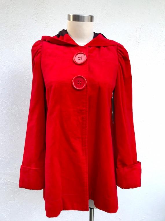 Vintage hooded red velvet jacket vintage velvet co