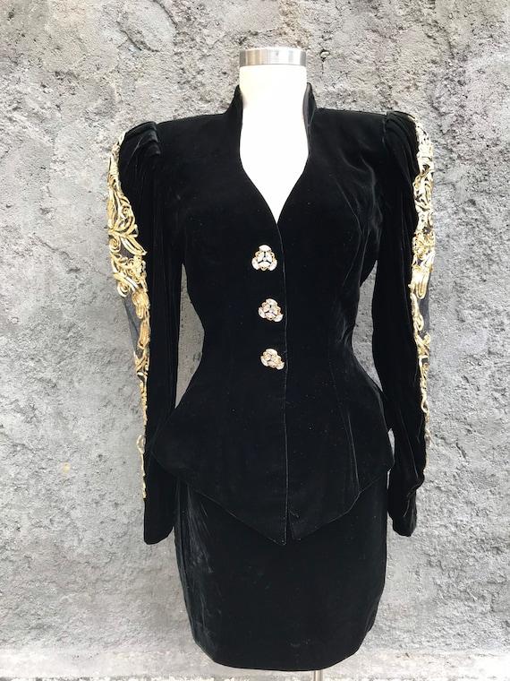 80s velvet suit, vintage Lillie Rubin suit, 80s Li