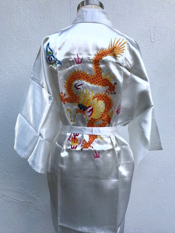Dead stock vintage silk Chinese dressing gown silk
