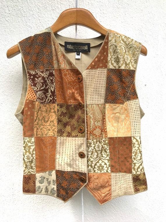 Vintage Roberto Cavalli suede patchwork waistcoat