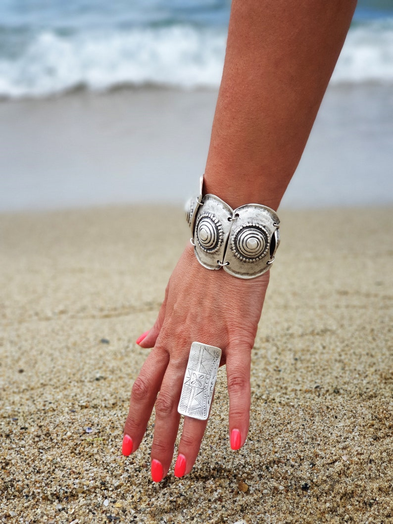 Silver Ring Silver Coated Adjustable Set of 3 Beautiful Jewelry Earrings and Bracelet in Bold and Feminine Combination.