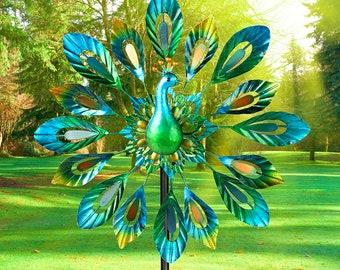 Vibrant Color Peacock, Metal Sculpture, Wind Spinner, Garden Yard Art Decor